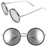 Linda Farrow 52mm Round 18 Karat White Gold Trim Sunglasses