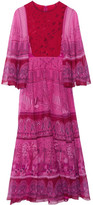 Valentino Printed Silk-chiffon Maxi Dress - Fuchsia