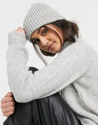 ASOS DESIGN recycled chunky neppy beanie with deep turn up in grey