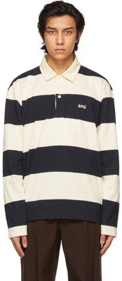 Ami Alexandre Mattiussi Navy and Off-White Striped Rugby Polo