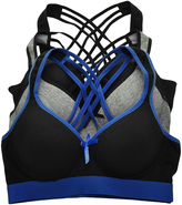 Angelina Blue & Black Crisscross Sports Bra Set - Plus Too
