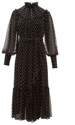 Zimmermann Espionage Polka-dot Silk-chiffon Midi Dress - Womens - Black Print