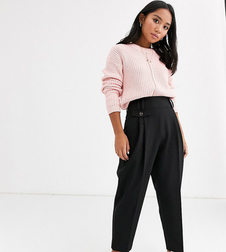 Asos DESIGN Petite tailored smart high waist balloon trousers-Black