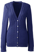 Lands' End Women's Cotton V-neck Cable Cardigan Sweater-Midnight Blue