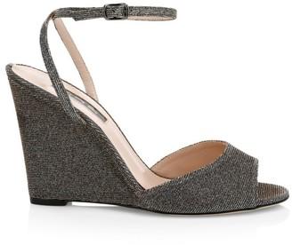 Sarah Jessica Parker Boca Glitter Wedge Sandals