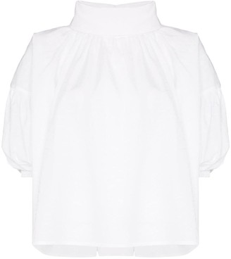 NACKIYÉ High Neck Short Sleeved Blouse