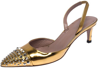 Gucci Gold Studded Patent Leather Pointed Toe Kitten Heel Slingback Sandals Size 36