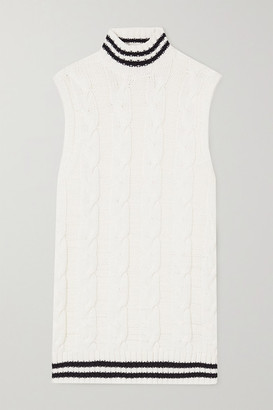 Ganni Striped Cable-knit Cotton-blend Turtleneck Tank - Ivory