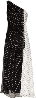 House of Holland one-shoulder gathered polka dot dress