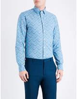 Richard James Zigzag-patterned Contemporary-fit Cotton Shirt