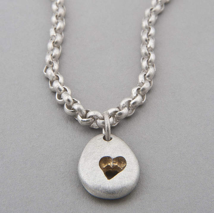 Neve Latham & Pebble Heart Chain Necklace