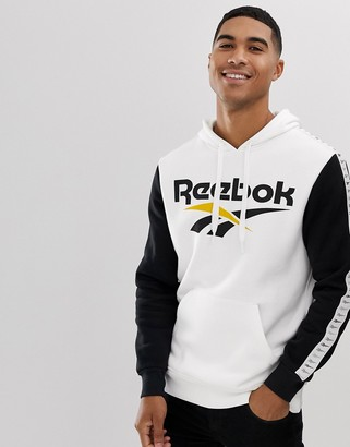 Reebok hoodie with taping in white