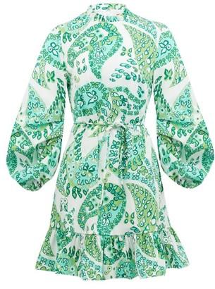 STAUD Balloon-sleeve Paisley-print Cotton-blend Dress - Womens - Green Multi
