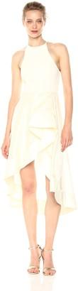 Halston Women's Sleeveless High Neck Dress with Flounce Sheer Skirt