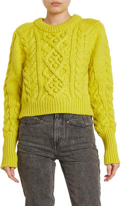 Isabel Marant Cable-Knit Wool Crop Sweater