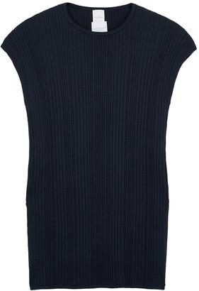 MAX MARA LEISURE Navy ribbed-knit top