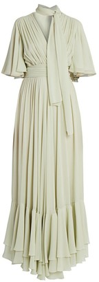 Giambattista Valli Tie-Neck Ruffle Silk Dress