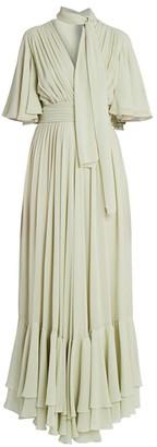 Giambattista Valli Tie-Neck Ruffle Silk Dress