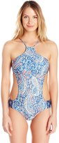 Lucky Brand Women's Verna Floral One Piece Swimsuit with Removable Cups