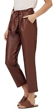 David Lerner Lexi Faux-Leather Paperbag-Waist Pants