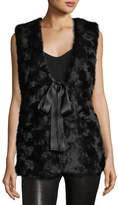 Max Studio Faux-Fur Ribbon-Tie Vest