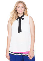 ELOQUII Plus Size Sleeveless Tie Neck Blouse