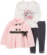 Kids Headquarters Pink Bow Double-Breasted Jacket Set - Toddler