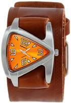 Nemesis Women's BHST024N Triangle Orange Triangle Brown Leather Cuff Band Watch