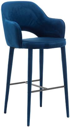 Pols Potten Cosy Velvet Bar Stool - Blue