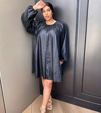 ASOS DESIGN Curve leather-look swing mini dress in black