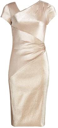 Theia Asymmetric Draped Metallic Dress
