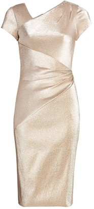 Theia Asymmetric Draped Metallic Dress