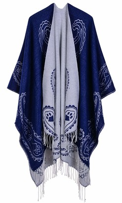 Shawl Poncho for Women Aivtalk Knitted Open Poncho Cape Cardigans Long Wrap with Tassel Navy Blue