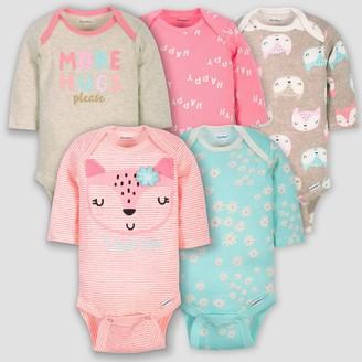 Gerber Baby Girls' 5pk Long Sleeve Fox Bodysuits - Coral/Green/Light Brown