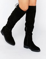 Pieces Darby Suede Flat Knee Boots