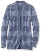 L.L. Bean Cotton Basket-Weave Sweater, Open Cardigan Stripe