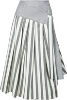 Christian Siriano flared stripe skirt - women - Silk/Cotton/Spandex/Elastane - 6