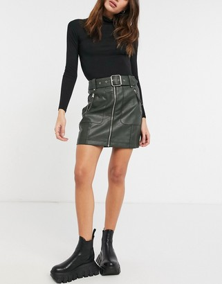Topshop faux-leather zip detail biker skirt in olive