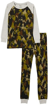 Hatley Forest Camo Organic Cotton Raglan PJ Set (Toddler/Little Kids/Big Kids) (Green) Boy's Pajama Sets