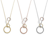 "Charlene K Stackable Ring with Multiple Circles Pendant 17"" Necklace"