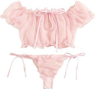 Take Idea Sexy Lace Lingerie Women Lingerie Corset Mesh Underwire Racy Muslin Sleepwear Underwear Tops+Briefs (Pink S)