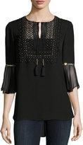 Elie Tahari Charlie 3/4-Sleeve Embellished Silk Blouse