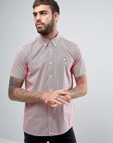 Pretty Green Glendale Gingham Shirt Short Sleeve Regular Fit in Red