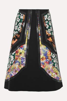 Stella McCartney Paneled Vegetarian Leather-trimmed Wool-twill And Floral-print Silk Skirt - Black