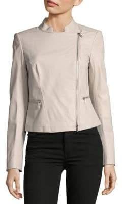 Lafayette 148 New York Cropped Leather Jacket
