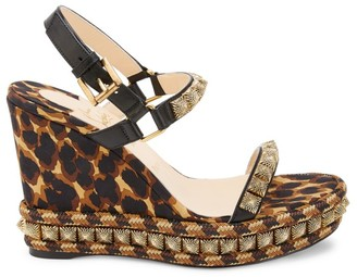 Christian Louboutin Pira Ryad Studded Leopard-Print Silk & Leather Platform Wedge Espadrilles