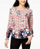 Lucky Brand Printed Cutout Top