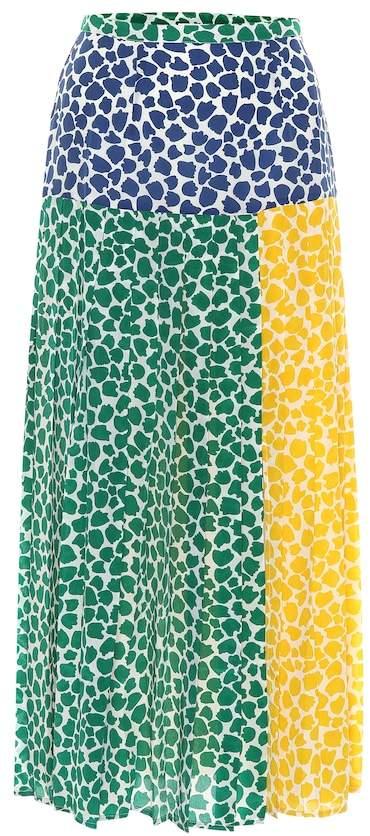 Rixo Tina printed silk midi skirt
