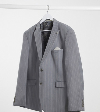 Burton Menswear Big & Tall skinny suit jacket in grey & pink stripe