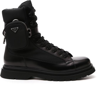 Prada Strapped Pouch Lace-Up Boots